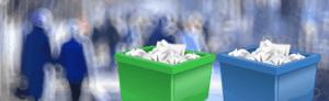 Two trash recycle bins