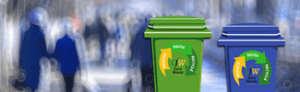 Two trash cans recycle